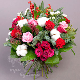 Букет на Новый год из 13 красных роз