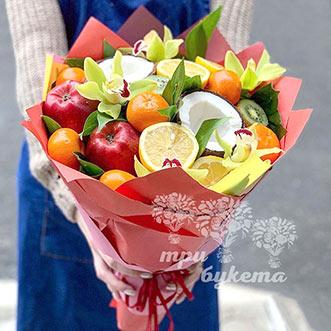Фруктовый букет с орхидеями